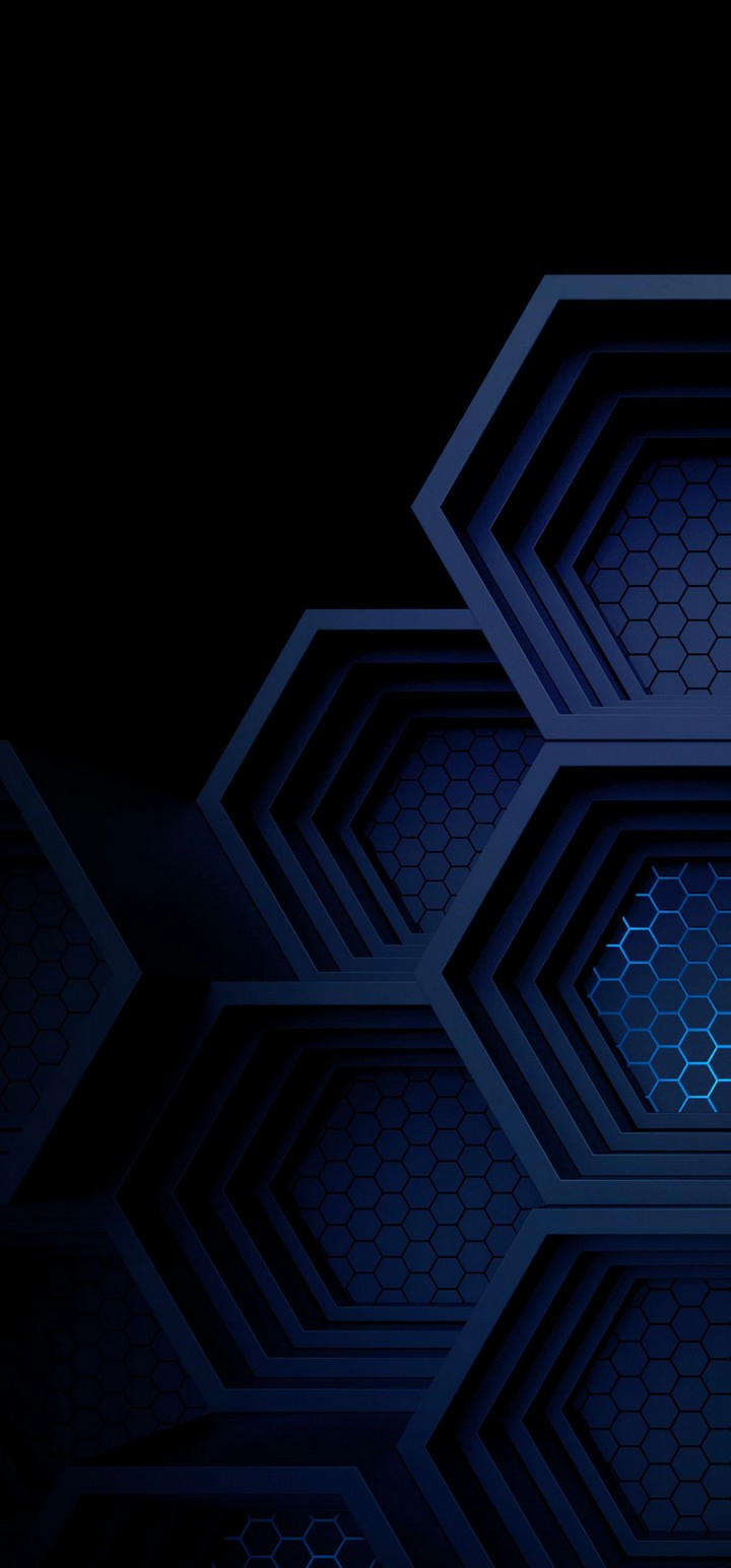 Dark Blue Boxes 3D Abstract Wallpaper 720x1544