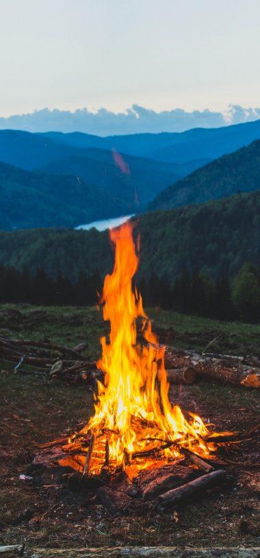 FireWood Campfire Mountain Wallpaper 720x1544 380x815