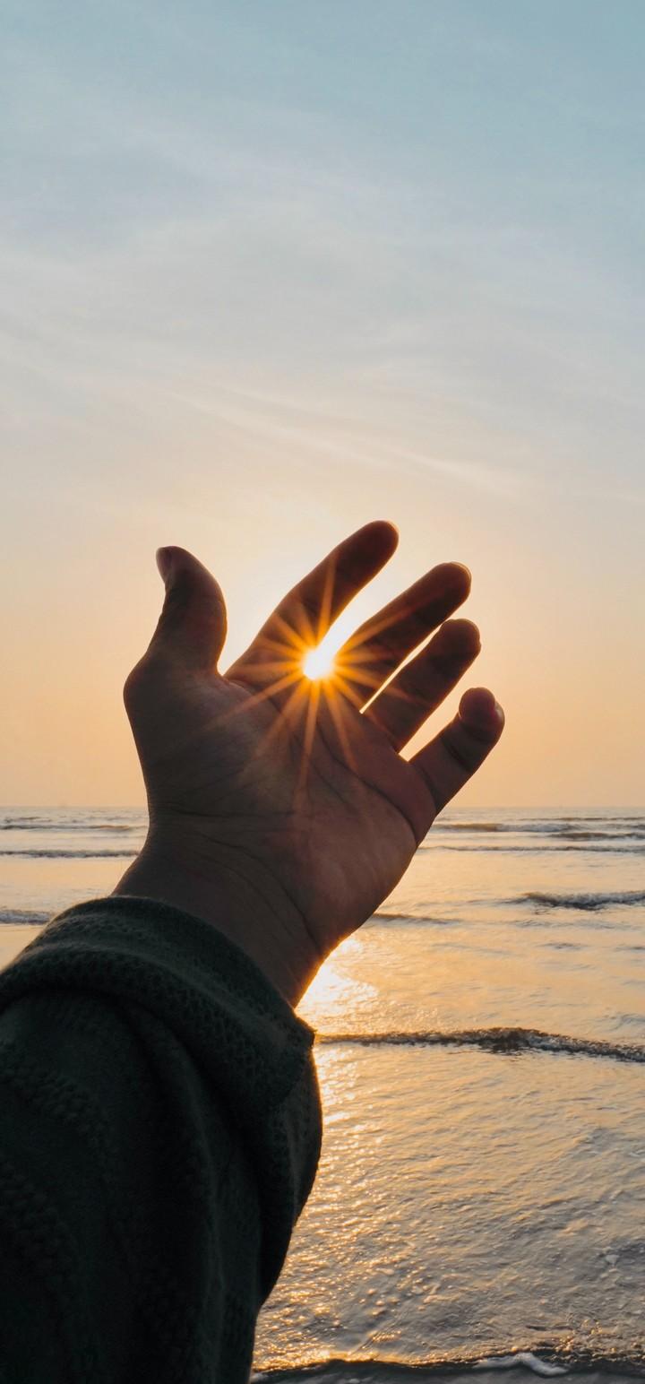 Hand Fingers Sun Wallpaper 720x1544