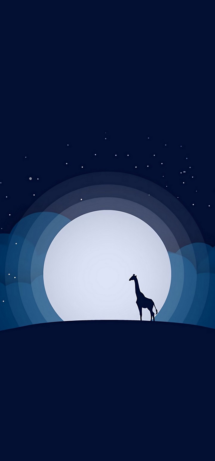 Moon Giraffe Hill Wallpaper 720x1544