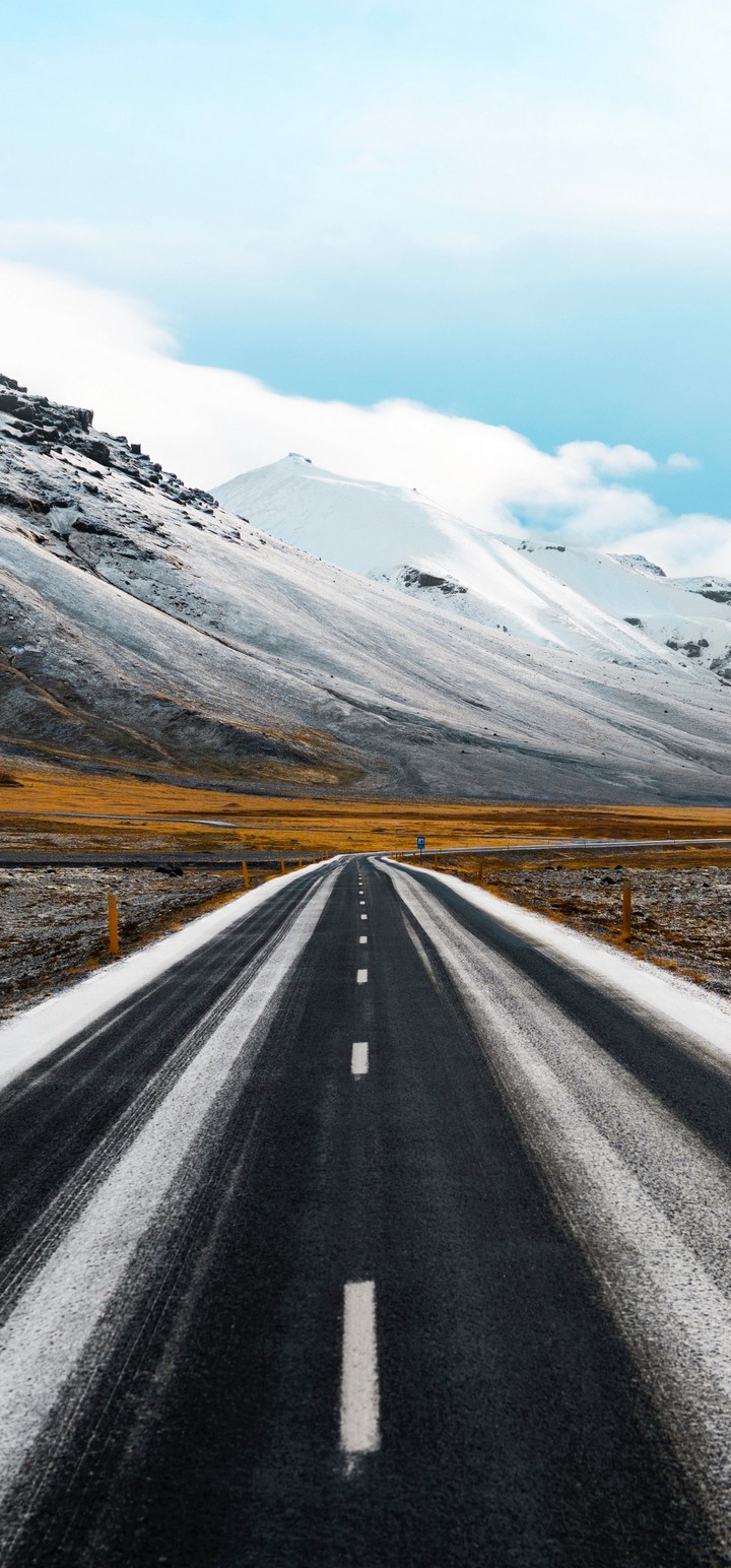 Road Marking Mountains Direction Wallpaper 720x1544
