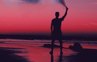 Smoke Bombs Smoke Flare Shore Sunset Wallpaper 720x1544 340x220