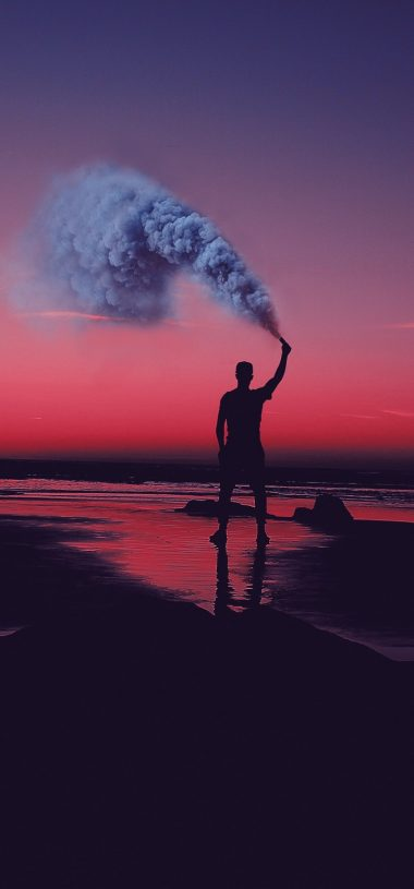 Smoke Bombs Smoke Flare Shore Sunset Wallpaper 720x1544 380x815