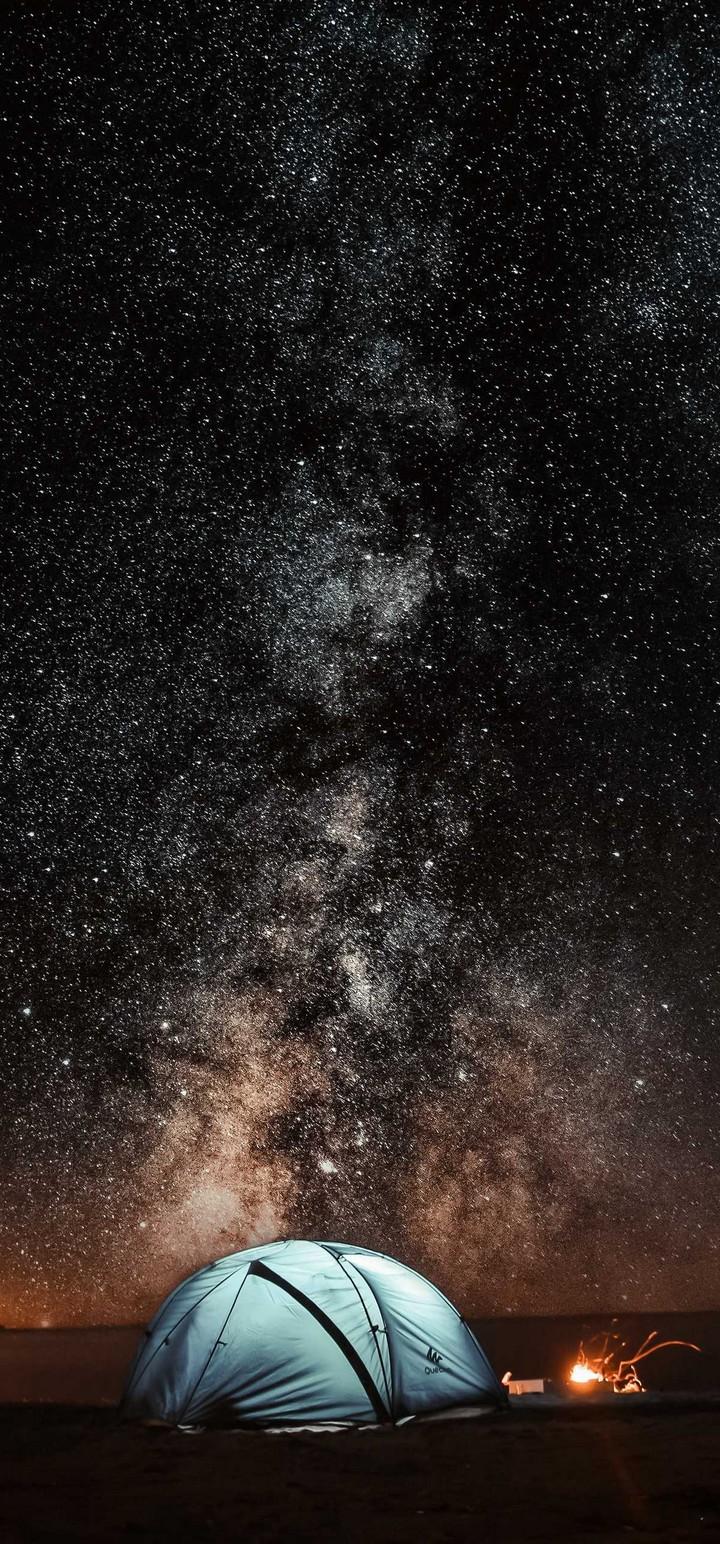 Tent Starry Sky Night Tourism Wallpaper 720x1544
