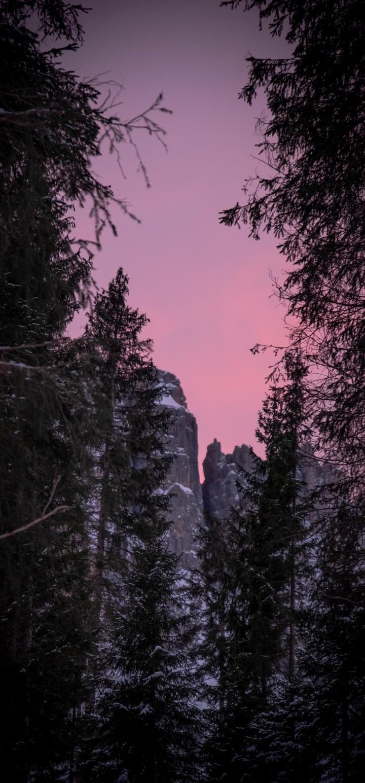 Twilight Snow Mountains Nature Wallpaper 720x1544