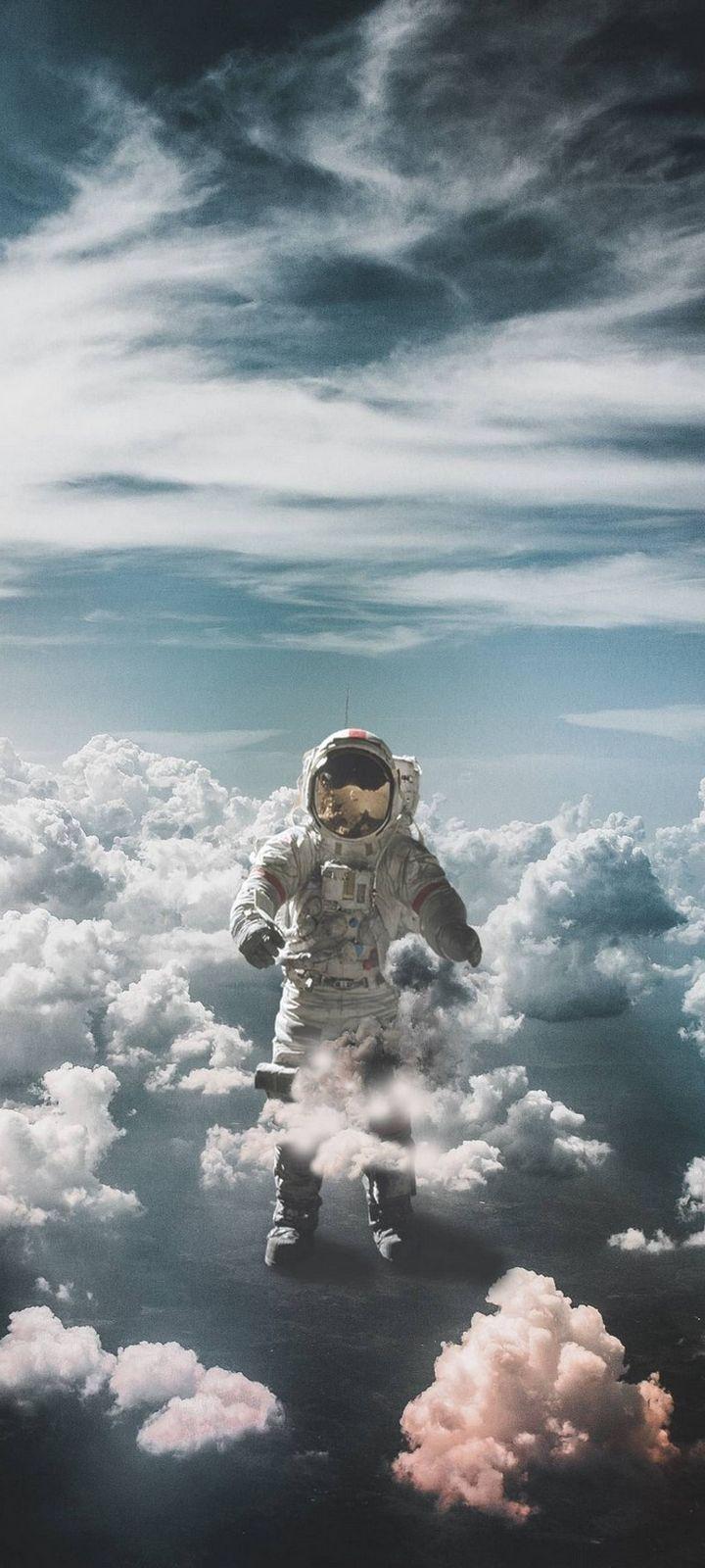 Astronaut Suit Space Clouds Wallpaper 720x1600
