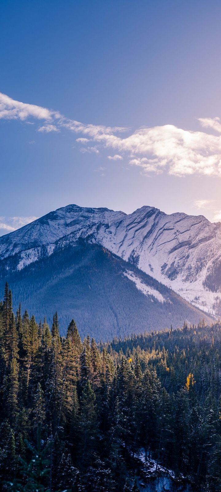 Banff Canada Mountains Peaks Snow Covered Wallpaper 720x1600