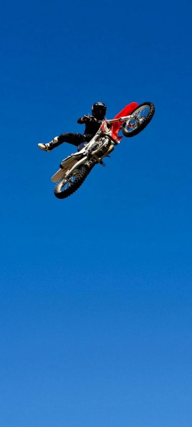 Bike Jump Blue Sky Wallpaper 720x1600 380x844