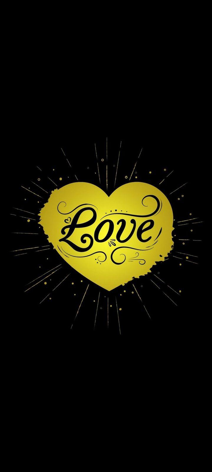 Black Yellow Love Heart Wallpaper 720x1600