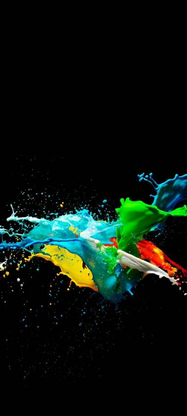 Colorful Painted Black Background Wallpaper 720x1600 380x844