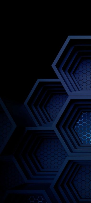 Dark Blue Boxes 3D Abstract Wallpaper 720x1600 380x844
