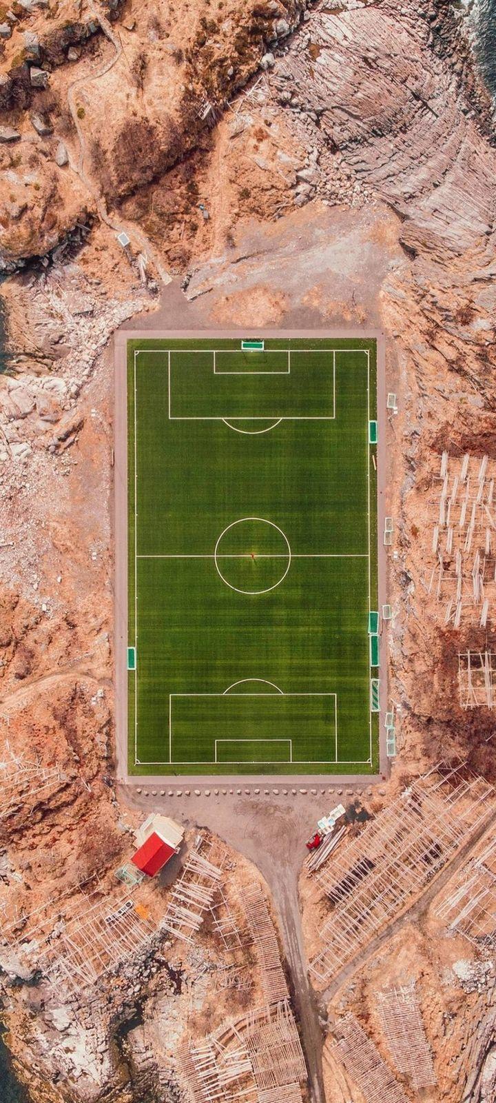Football Field Island Sports Wallpaper 720x1600