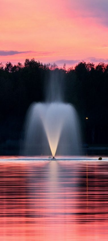 Fountain Lake Sunset Trees Wallpaper 720x1600 380x844