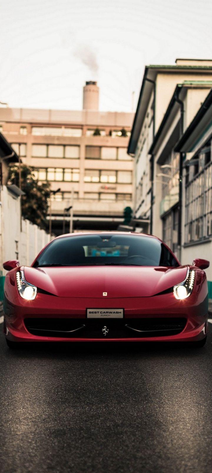 Front View Red Ferrari Car Wallpaper 720x1600