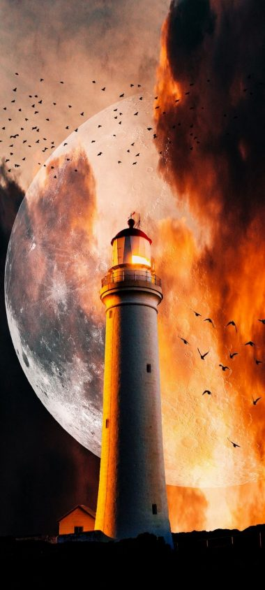 Lighthouse Moon Flame Wallpaper 720x1600 380x844