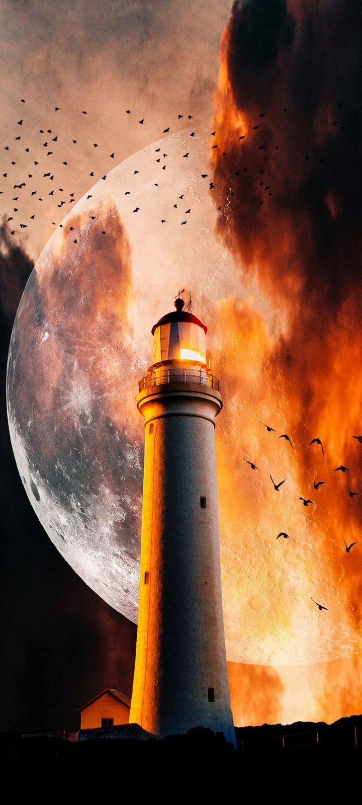 Lighthouse Moon Flame Wallpaper 720x1600