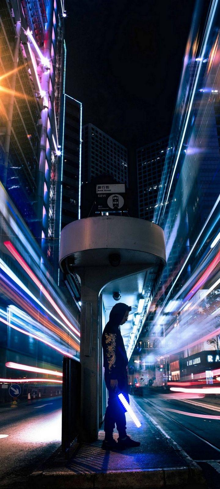 Man City Lightsaber Wallpaper 720x1600