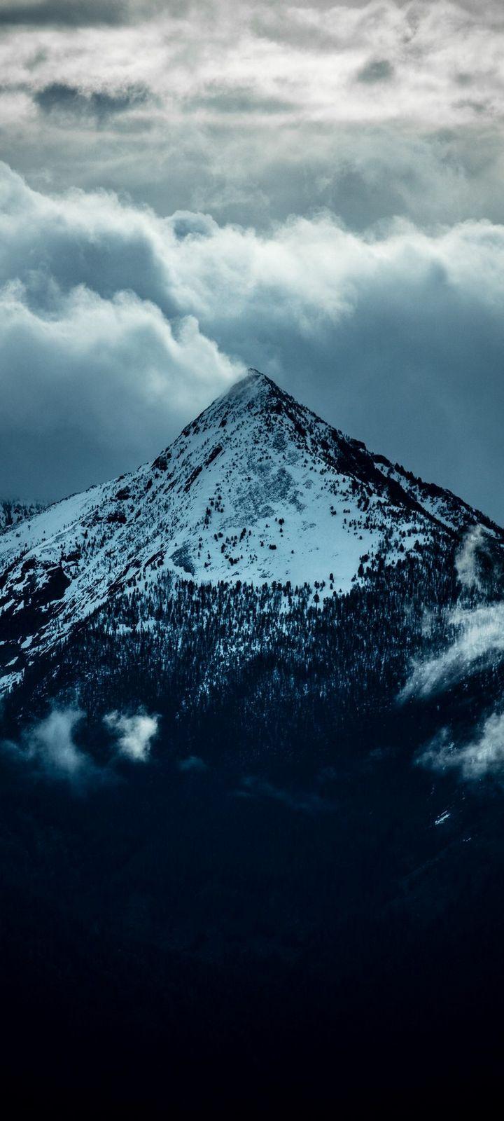 Mountain Peak Clouds Wallpaper 720x1600