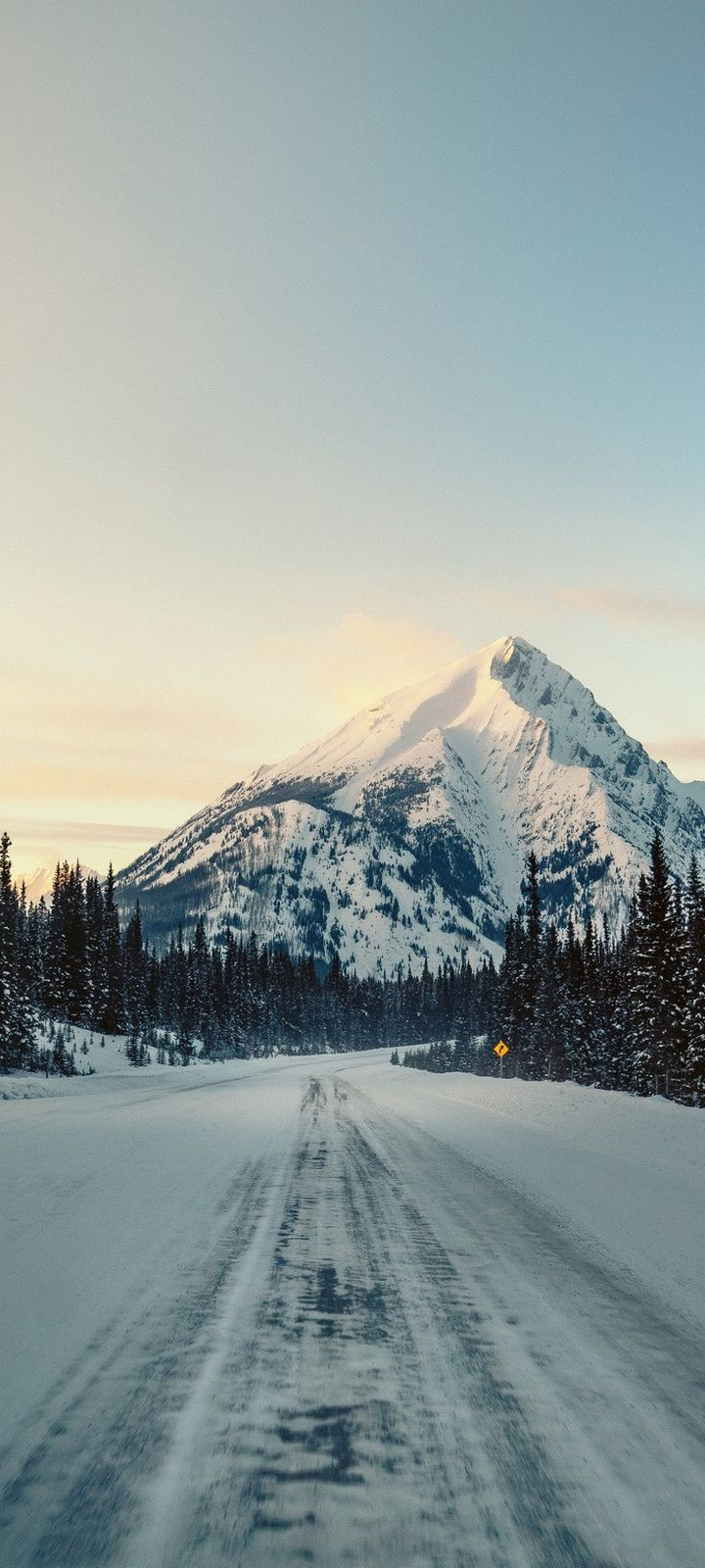 Mountain Road Snow Nature Wallpaper 720x1600