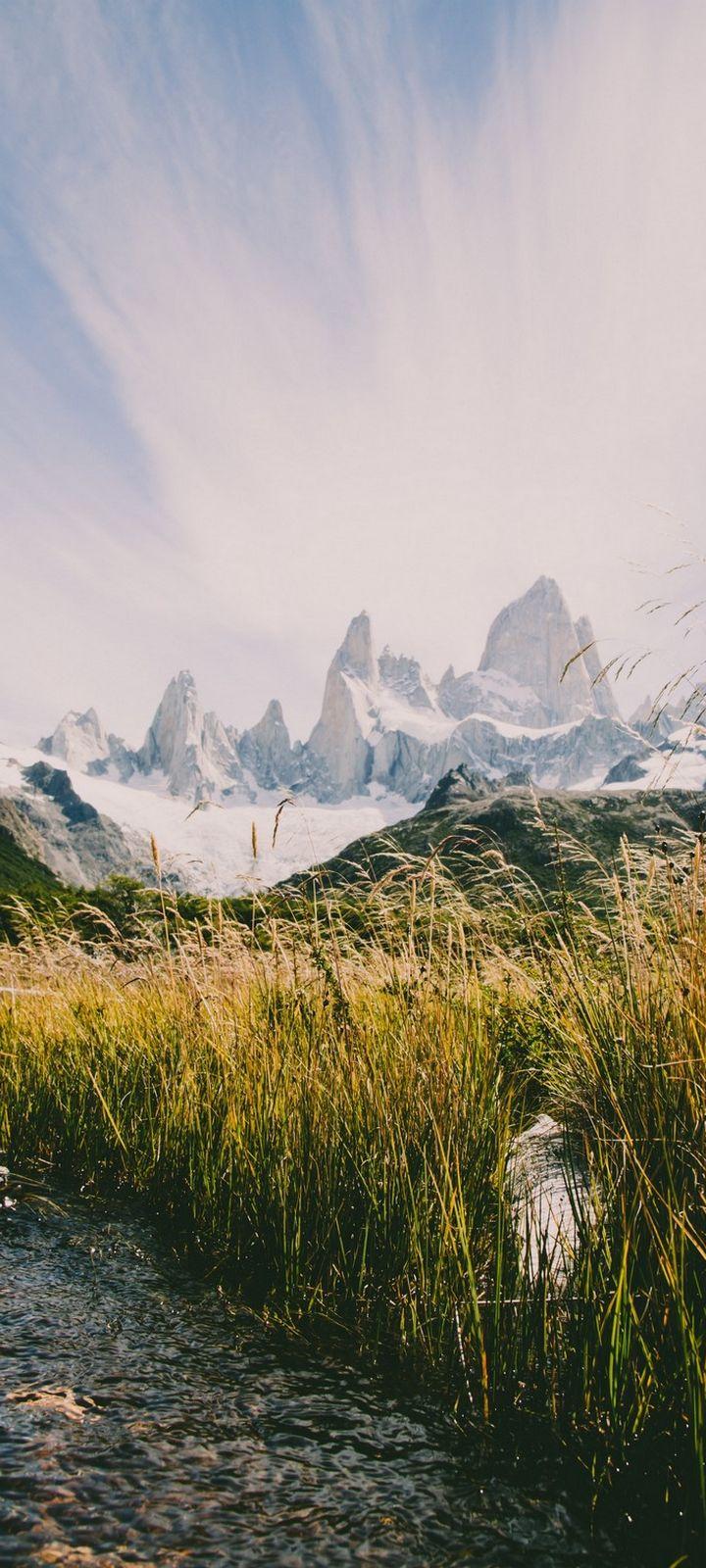 Mountains River Grass Wallpaper 720x1600