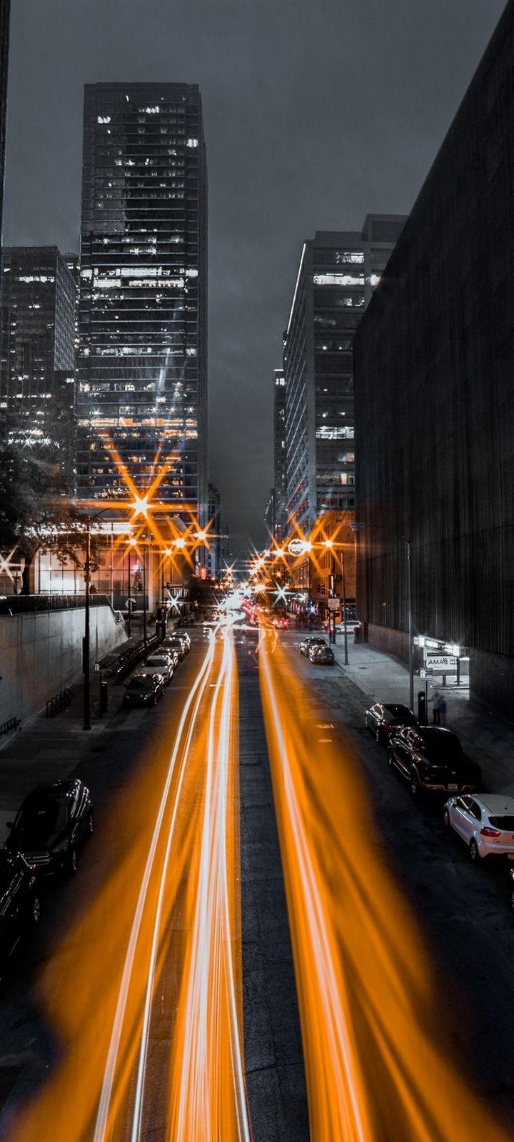 Night City Long Exposure Wallpaper 720x1600