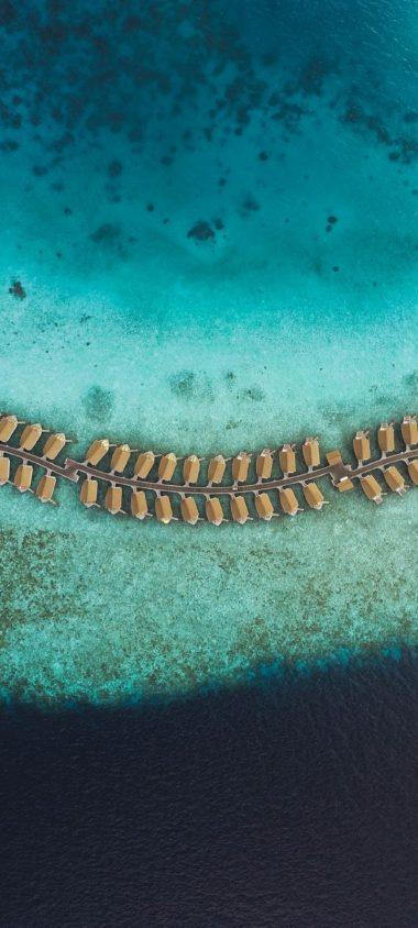 Ocean Aerial View Bungalow Wallpaper 720x1600 380x844