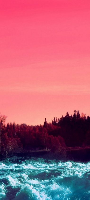 Pink Sky Nature Water Wallpaper 720x1600 380x844