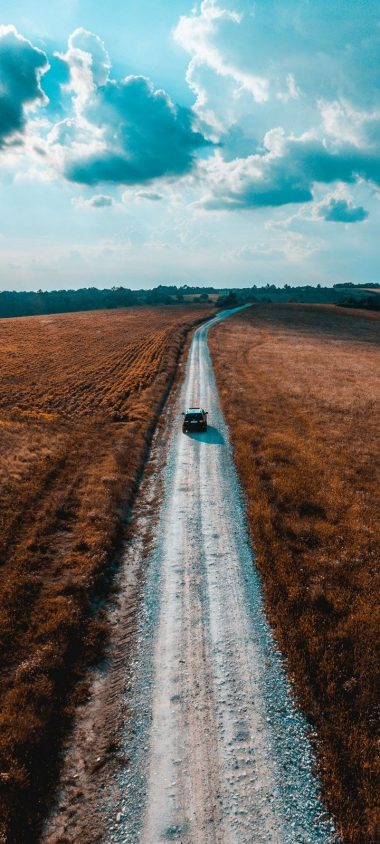 Road Car Field Wallpaper 720x1600 380x844