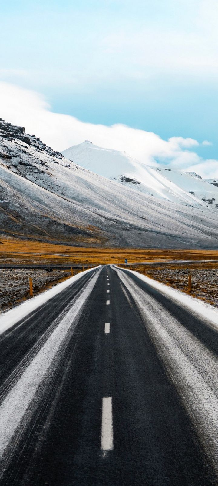 Road Marking Mountains Direction Wallpaper 720x1600