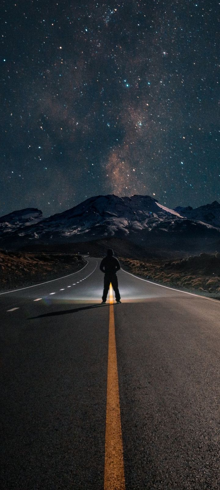 Road Mountains Night Wallpaper 720x1600