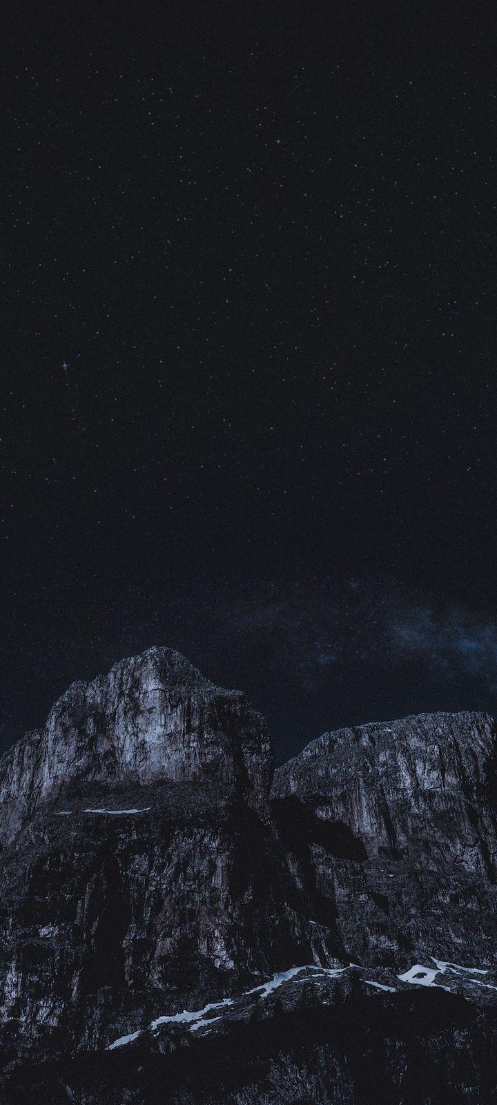 Rocks Night Stars Wallpaper 720x1600