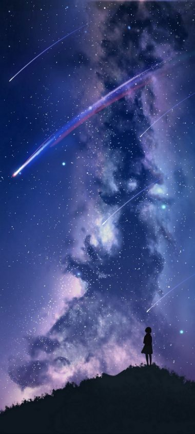 Silhouette Starry Sky Stargazing Wallpaper 720x1600 380x844