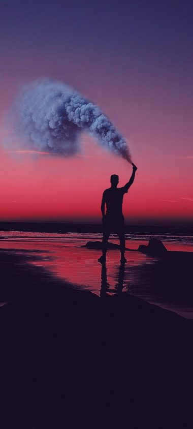 Smoke Bombs Smoke Flare Shore Sunset Wallpaper 720x1600 380x844