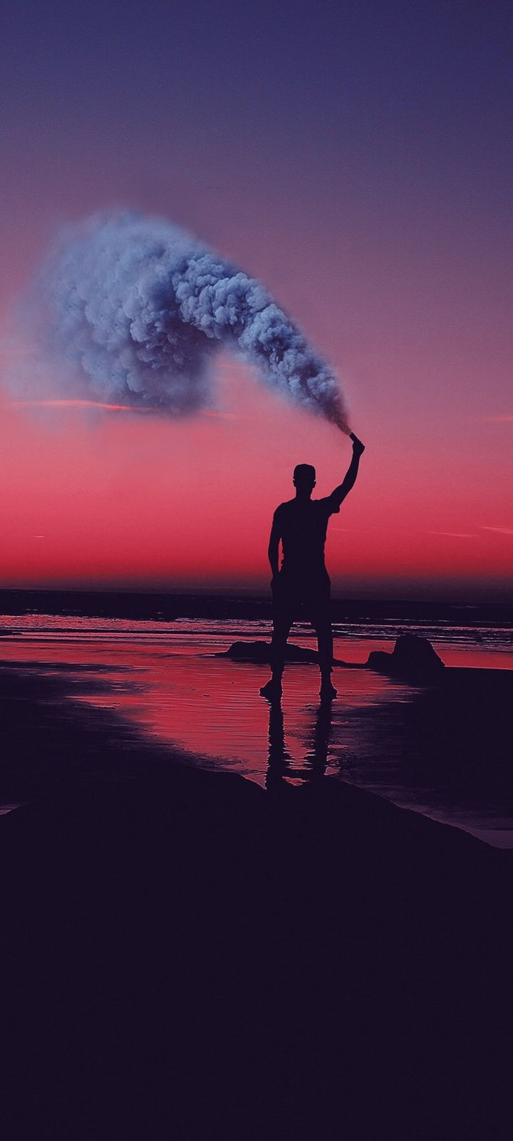 Smoke Bombs Smoke Flare Shore Sunset Wallpaper 720x1600