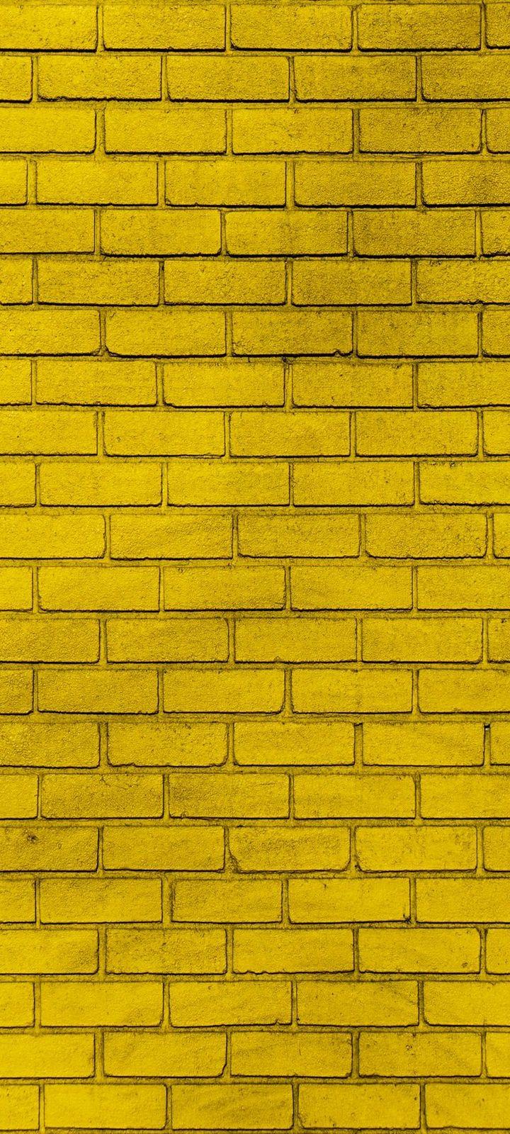 Wall Brick Yellow Wallpaper 720x1600