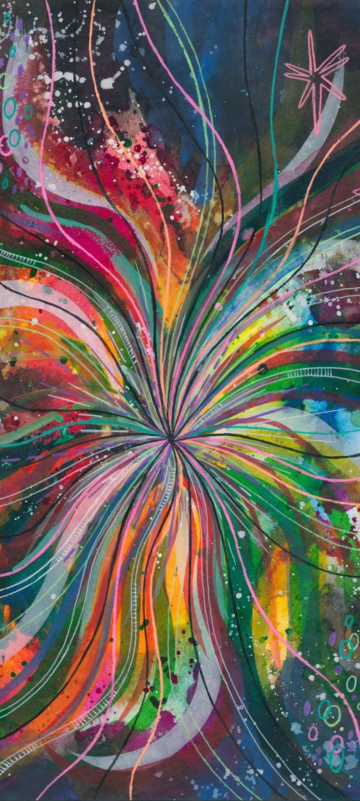 Watercolor Lines Multicolored Wallpaper 720x1600