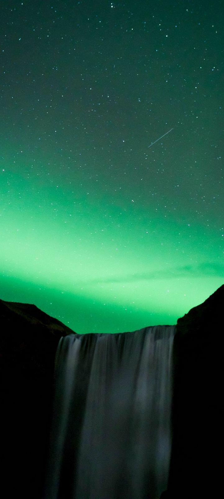 Waterfall Night Northern Lights Wallpaper 720x1600