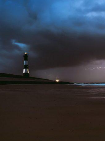 Lighthouse Lightning Sea Ocean Beach Weather Ef Wallpaper 1620x2160 1 340x453