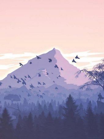 Minimalism Birds Mountains Trees Forest 9k Wallpaper 1620x2160 1 340x453